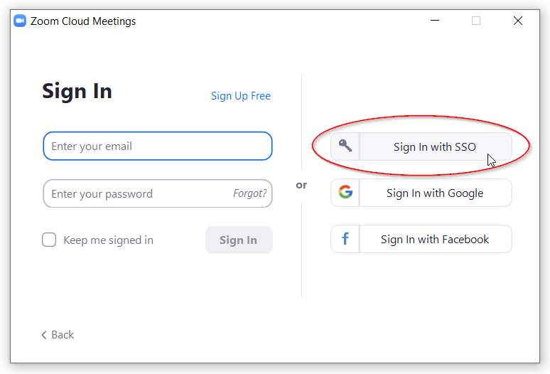 Zoom Sign In with SSO