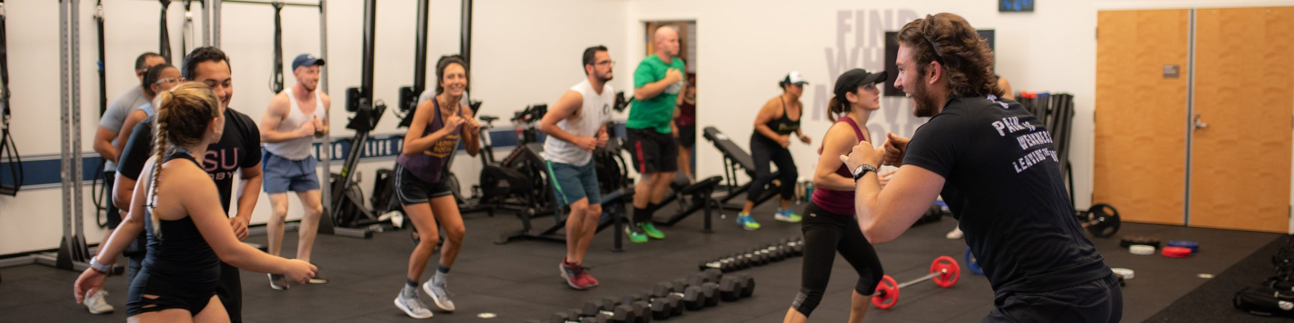 People participating in an F45 class