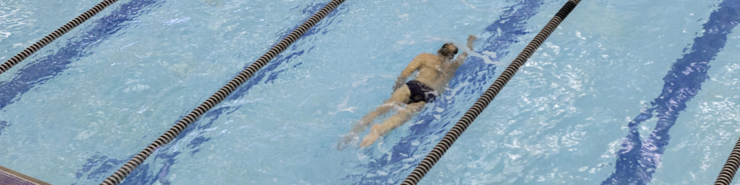 Person swimming free style in the pool